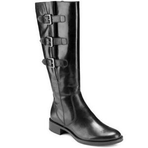 Ecco Hobart Tall Black Leather Buckle Boots